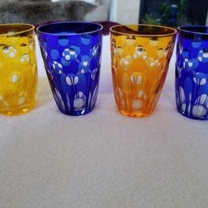 Set of 4 Vintage (1950's) Colored Crystal Cordial